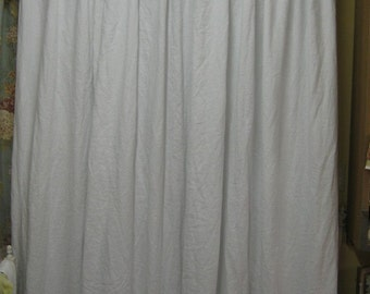 Linen Shower Curtain with 2 Finger Casual Pleats-Lined Shower Curtain-Linen Shower Curtain with X Pleats-Decorator Shower Curtain in Linen