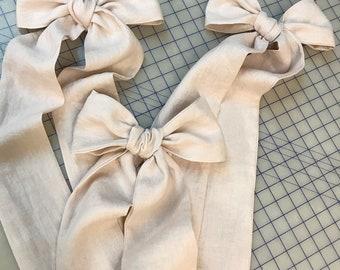 3 Heirloom Pink Crib Bows- Pre-Tied Crib Bows