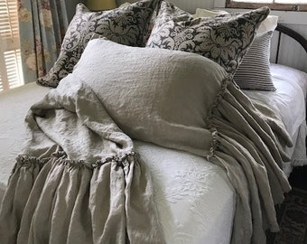 Bed Pillow Sham in Washed Linen Featuring Long Mermaid Double Hemmed Ruffle-Ballet Tie Closure-Your Requested Color-One Standard-Queen Sham