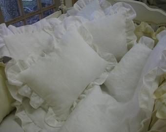 White Linen Nursery Ruffled Crib Pillow