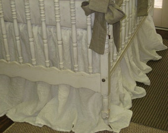 Gathered Crib Skirt-Storybook Style Cribskirt in Washed Linen-Your Finished Length and Color Choice