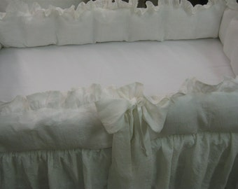 """Vintage White  Washed Linen Ruffled Standard Crib or Sleigh Crib Bedding-2"""" Ruffle Bumpers-Bow Separates-Storybook Crib Skirt"""