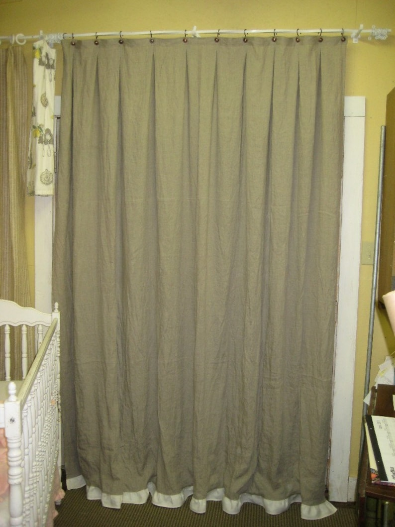 Natural Flax Linen Shower Curtain With 3 Ruffled Hem In Ivory Unlined Wa
