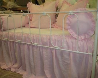 Washed Petal Pink Linen Non-Traditional Crib Bedding-Ruffled Bolsters, Pillow Shams, Blanket, and Crib Skirt