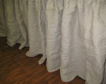 """Gathered Washed Linen Bed Skirt-Twin-Full-Queen-King----Side Drop Length up to 16""""-Washed Linen Dust Ruffle"""