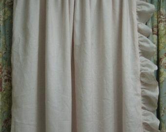 Ruffled Drapery Panel-Lined Single Width Ruffled Panel with Rod Pocket Header-Ruffled Curtain Panel-One Long Curtain Panel