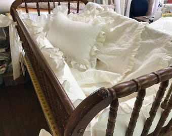 """Washed Linen Cradle Bedding-1"""" Ruffled Bumpers with Tiny Ties and 4 Sash Separates-Removable Bumper Pad Inserts-American Made Nursery Linens"""