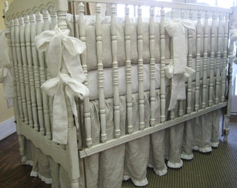 """Oatmeal and Cream Washed Medium Weight Linen Crib Bedding-1"""" Ruffled Bumpers and 1"""" Ruffled Crib Skirt"""