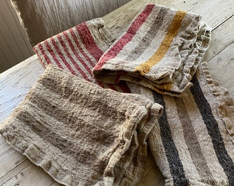 Linen Stripe Napkins-Rustic Linen Stripe Oversized Napkins