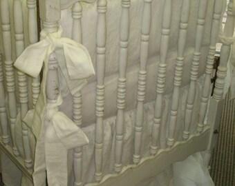 "Crib Bedding in Washed White Handkerchief Linen -2"" Ruffled Crib Bumpers-Sash Ties-Extra Long Gathered Crib Skirt"