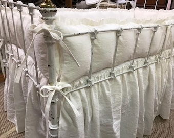 Ruffled Crib Bumpers and Gathered Crib Skirt in Vintage White Washed Linen-Tiny Ties- Classic Washed Linen Crib Bedding