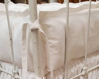 White Baby Bedding-Washed Baby White Linen Tailored Crib Bumpers-Tailored Crib Skirt-Classic Styled Nursery Linens-Made in USA