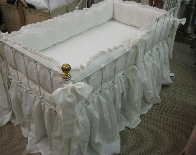 Featured listing image: Vintage White Linen Nursery-Ruffled Bumpers-Sash Ties-Storybook Crib Skirt-Gathered 3X Fullness