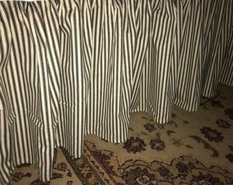 Pair of Twin Bed Size Gathered Skirts-Ticking Stripe or Buffalo Check Cotton Bed Skirts