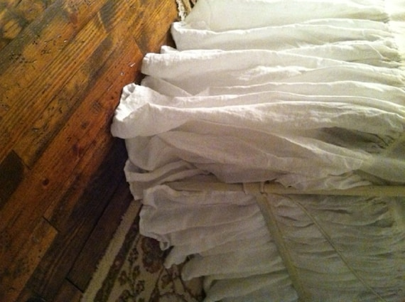 Washed Linen Bed Skirt Only Vintage White Handkerchief