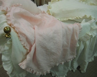 Ruffled Nursery-Washed Linen Crib Blankets, Pillows and Crib Skirt in Cream and Ballet Pink-Made to Order Crib Bedding-Custom Nursery Linens