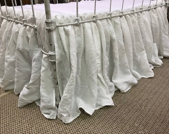 Washed Linen White Gathered Crib Skirt-3X Fullness-Washed Linen Crib Skirt
