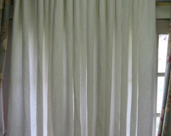 One Pair Pleated Linen Drapery Panels-Linen Drapery Panels with Pleated Header Detail-Lined Drapes-Pleated Panels