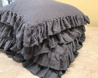 Two Ruffled Floor Pillows or Doggie Beds with Removable Inserts-Washed Linen Ruffled Floor Cushion Covers or Pet Bed Covers in Slate Gray
