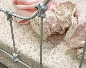 READY NOW-Blush Pink Ditsy Floral Crib Sheet--Nursery Gift-Baby Gift Idea-Baby Shower-Baby Necessities-Fitted Crib Sheet
