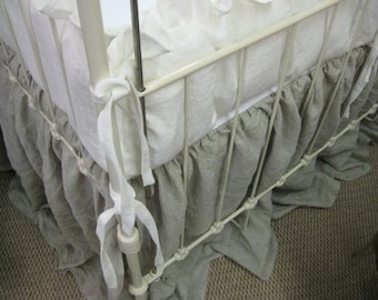 """Washed Linen 2"""" Ruffled Crib Bumper Separates with Tiny Ties-Classic Ruffled Crib Bumpers-Your Choice Linen Colors-Optional Crib Sashes/Bows"""