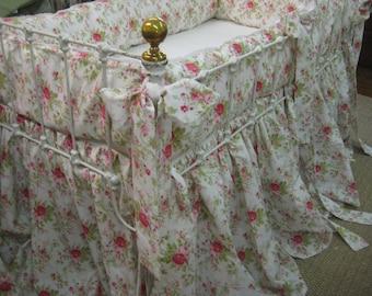 Floral Crib Bedding Set, Baby Girl Crib Bedding, Floral Crib Skirt, Floral Crib Bumpers, Floral Nursery Decor, Girl Nursery Decor