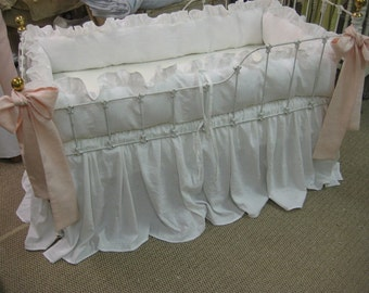 Bright White Washed Linen Crib Bedding-Ruffled Bumpers-Storybook Crib Skirt-Powder Blush Pink Sashes-Crib Pillows-Made to Order Crib Bedding