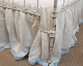 Gathered Crib Skirt with Contrast Tailored Hem - Classic Nursery Linens
