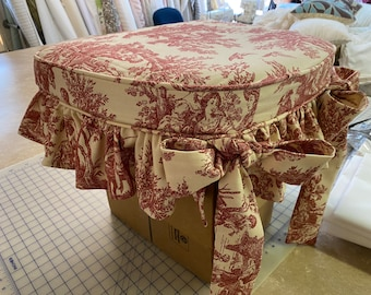 Custom Sewing-Dining Chair Seat Slipcovers-Red Toile Fabric Cottage Style Slipcovers-Sash Ties and Cording Detail-Chair Seat Cushion Covers