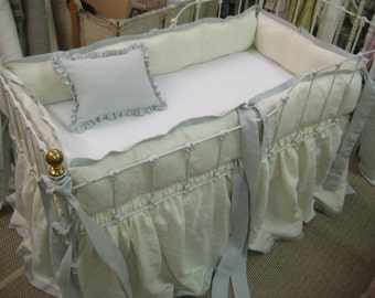 Crib Bedding Made to Order-Cream and Dove Washed Linen-Tailored Bumpers-Sash Ties-Crib Skirt-Ruffled Crib Pillow-Fitted Crib Sheet