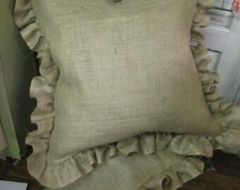 Three Euro Shams- Ruffled- Natural Burlap- Zip Closure-Three Pillow Shams - Size 26x26 -Natural Burlap with a 4 inch Ruffled Perimeter
