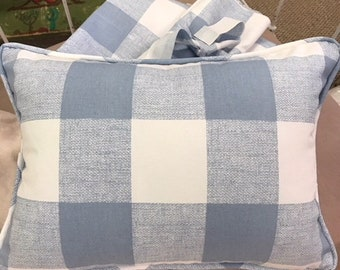 Blue Buffalo Check Cotton Curtain Panels and Crib Pillow with Removable Insert-Zip Closure