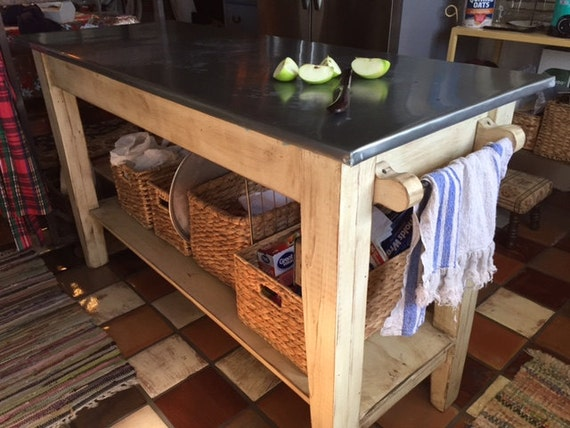 Kitchen Island--Rustic Zinc Top Work Table-Kitchen Prep Table with Zinc  Top-Farm Table Style Kitchen Island-SHIPPING AVAILABLE