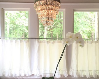 Pair of Washed Linen Ruffled Cafe Curtain Panels-Two Panels in Your Requested Width and Length