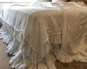 White Ruffled Linen Bedding, White Linen Bed Spread, White Linen Bed Skirt, White Linen Duvet Cover Set, White Linen Pillow Shams