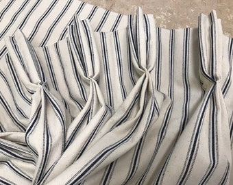 Cotton Ticking Lined Curtains with Traditional Pinch Pleats or Euro Pleats