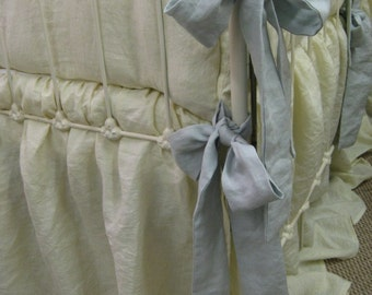 Ivory and Dove Ruffled Linen Crib Bedding