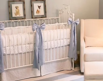 Tailored Crib Bedding in Baby White Washed Linen-Bumper Slipcovers with Flat Flange Detail-Tiny Ties-Pleated Crib Skirt-3 Large Crib Bows
