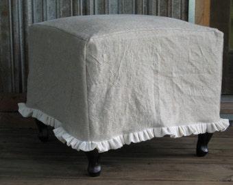 Ruffled Linen Slipcover for your Ottom