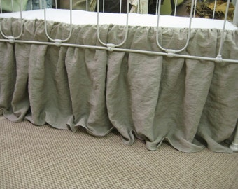 """Washed Linen Storybook Style Crib Skirt-16"""" Drop Length-Offered in Any Linen Color"""