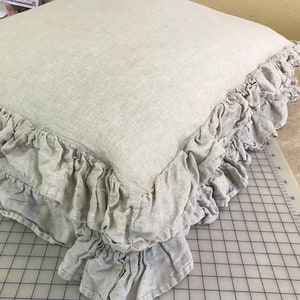 Ruffled Washed Linen Doggie Bed Sham-Puppy Bed Slipcover in Washed Linen-Double Ruffled Edge with Zip Closure-Boxed Style Pet Bed Slip