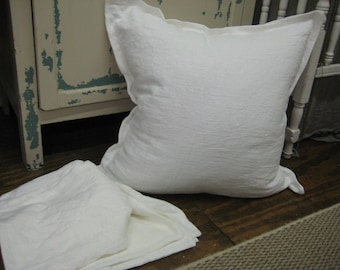 3 Washed White Linen Tailored Euro Shams