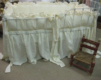 """2"""" Ruffled Bumpers and Storybook Style Crib Skirt in Washed Cream Linen"""