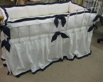 Tailored Crib Bedding in Vintage White and Cobalt Blue Washed Linen-Custom Angled Ties-Fitted Crib Sheet-Tailored Bumper