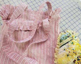 Ticking Stripe Market Bag -Ruffled Beach Bag - Book Tote- Ruffled Market Bag---Diaper Bag----Washable