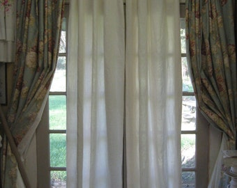 """Pair of Unlined Washed Linen Curtains-Light Filtering Curtains-Rod Pocket or Clip Rings-100"""" Length-Single Width Panels-Washed Linen Pair"""