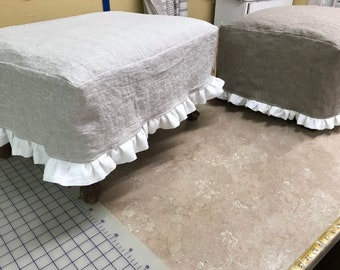 Slipcovers for your Footstools or Ottomans-Available in Washed Linen-Cotton Duck-Holiday Plaid-Contact Me for Available Fabrics