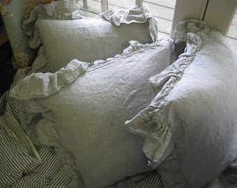 Set of Three Washed Linen Euro Shams with Long Ruffles---3 Euro Shams-26x26 Ruffled Shams in Washed Linen-Linen Pillows-Washed Linen Bedding