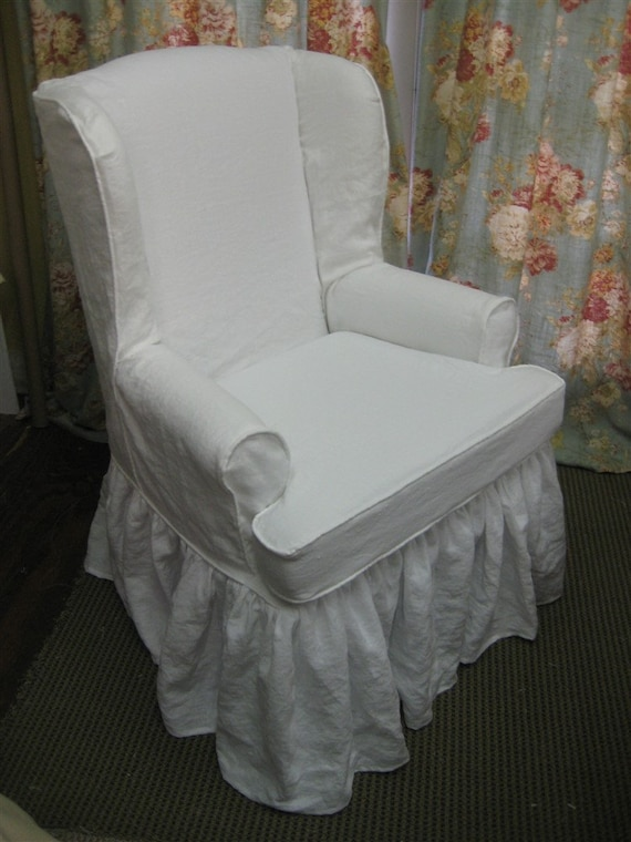 Stupendous Traditional Wing Back Chair Slipcover In Washed Linen Local Clients Only Wing Back Chair Ruffled Slipcover Washed Linen Slipcover Your Chair Pdpeps Interior Chair Design Pdpepsorg
