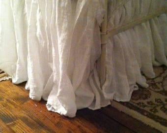 """Gathered Bed Skirt-17""""-Vintage White Washed Linen-Romantic Linen Bedding Separates-Full Size Bedding-Long Gathered Bed Skirt"""